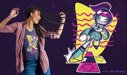 Design de camiseta do robô dançando