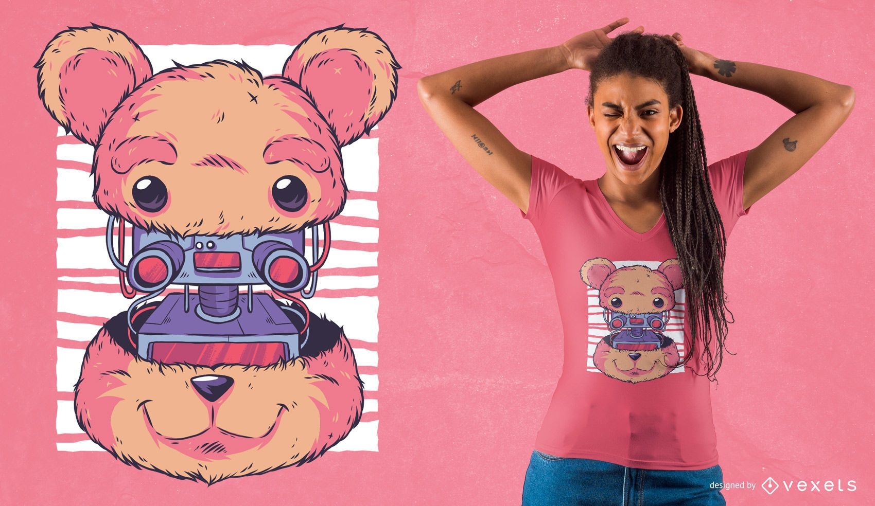 Diseño de camiseta robot teddy bear