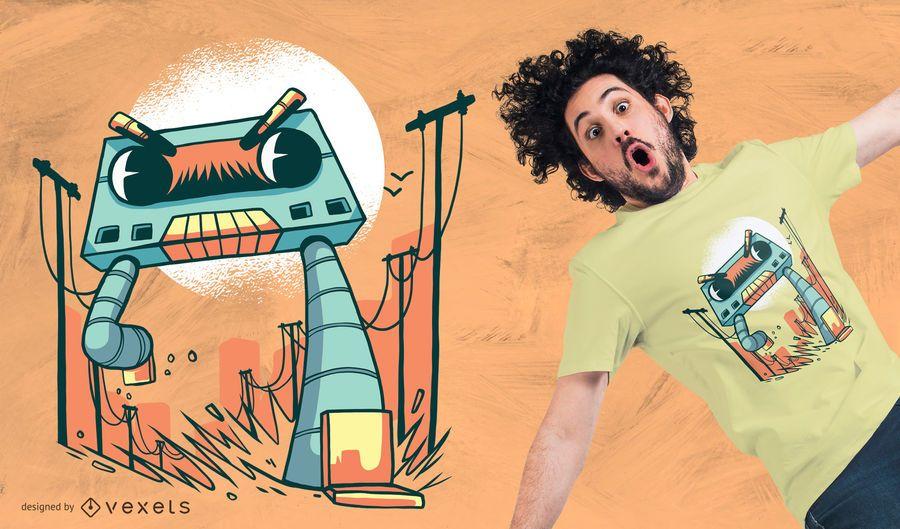 Projeto do t-shirt do monstro do robô da gaveta