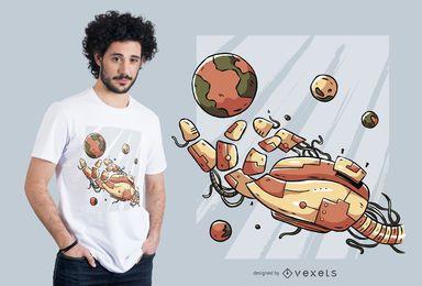 Diseño de camiseta de mano robótica