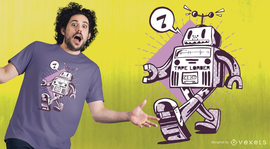 Design feliz do t-shirt do robô