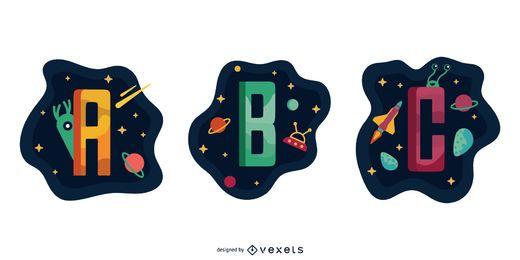 Pacote de vetores de garland espacial carta ABC