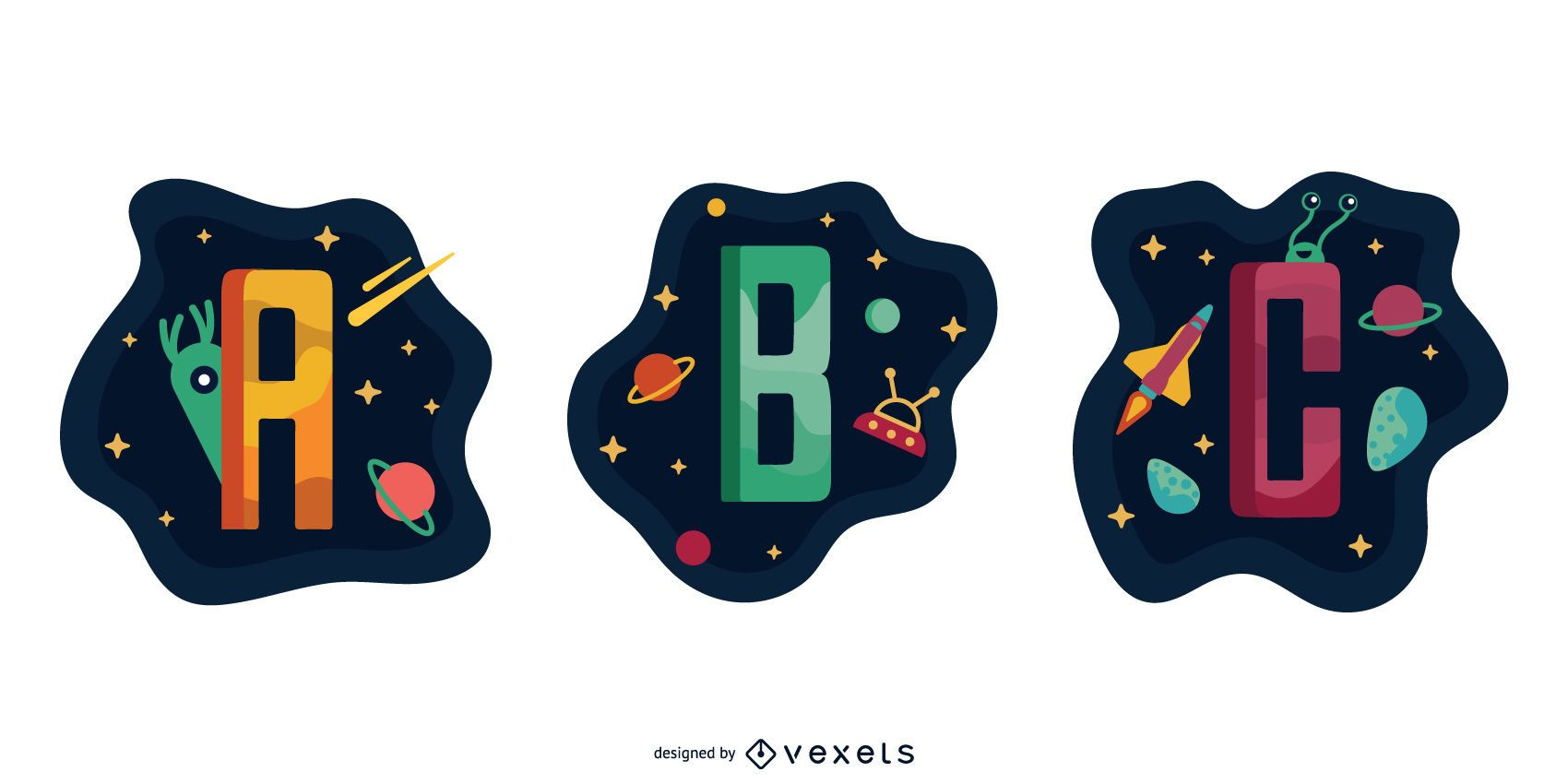 Space Garland Letter Vector Pack A B C