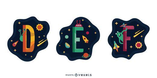 Pacote de vetores de garland espacial letra DEF