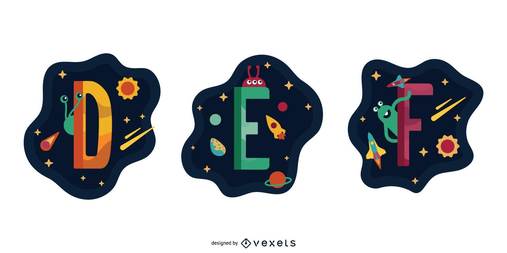 Espacio Garland Letter Vector Pack DEF