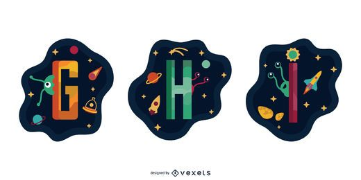 Space Garland Letter Vector Pack G H I