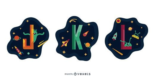 Space Garland Letter Vector Pack J K L
