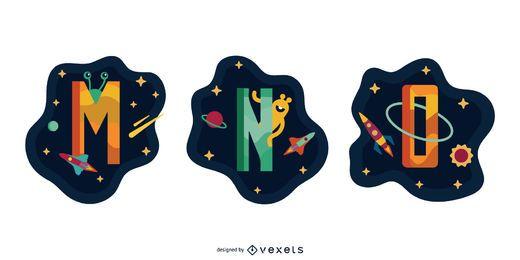 Pacote de vetores de garland espacial carta MNO