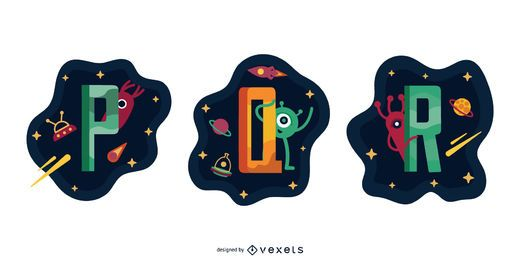Space Garland Letter Vector Pack PQR