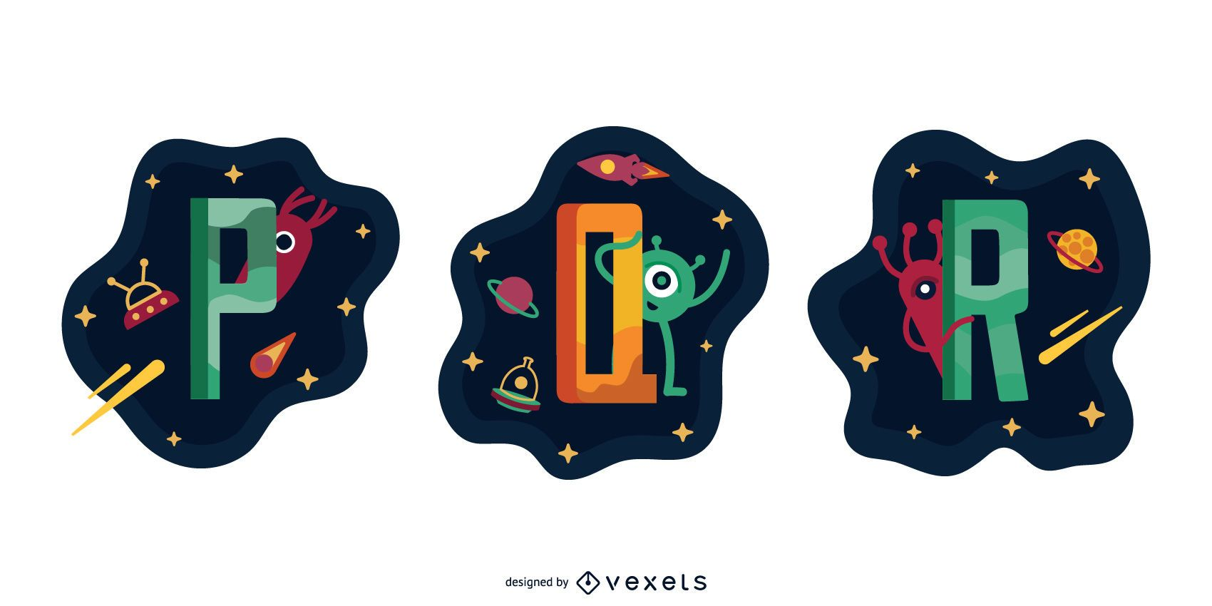 Space Garland Letter Vector Pack P Q R