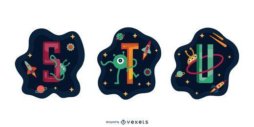 Pacote de vetores de garland espacial letra STU