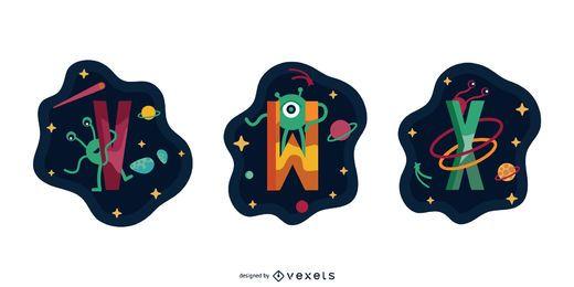 Space Garland Letter Vector Pack VWX
