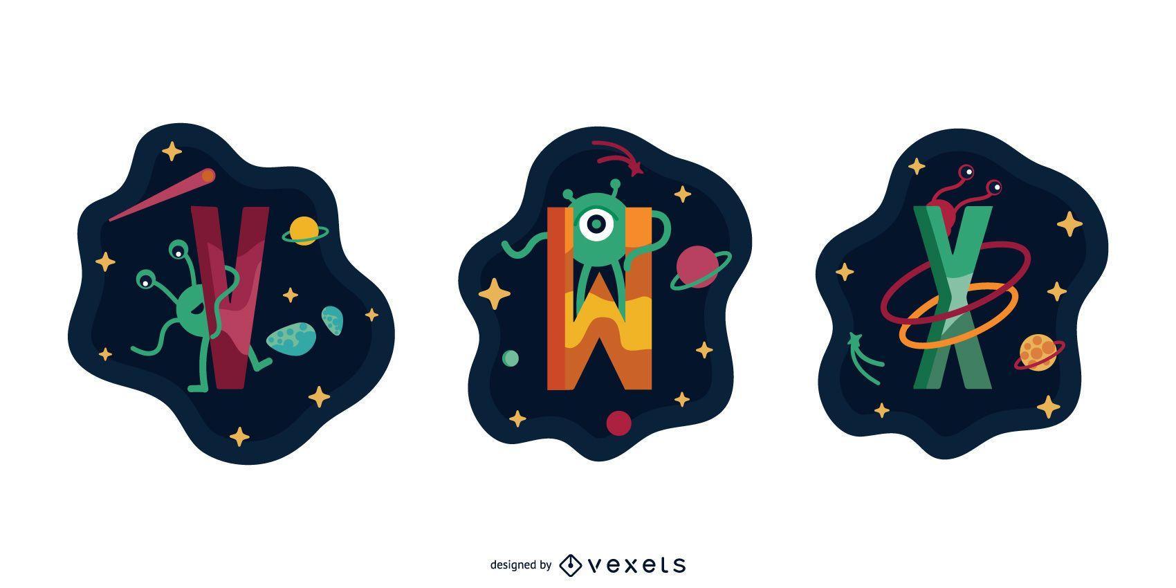 Paquete de vectores de letras Space Garland VWX