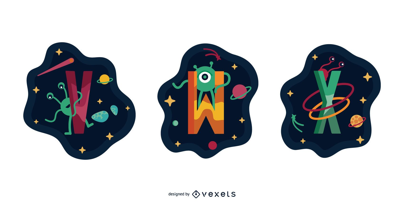 Space Garland Letter Vector Pack V W X