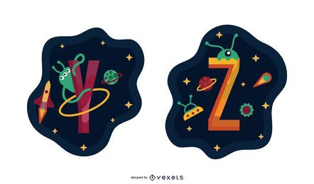 Space Garland Letter Vector Pack YZ