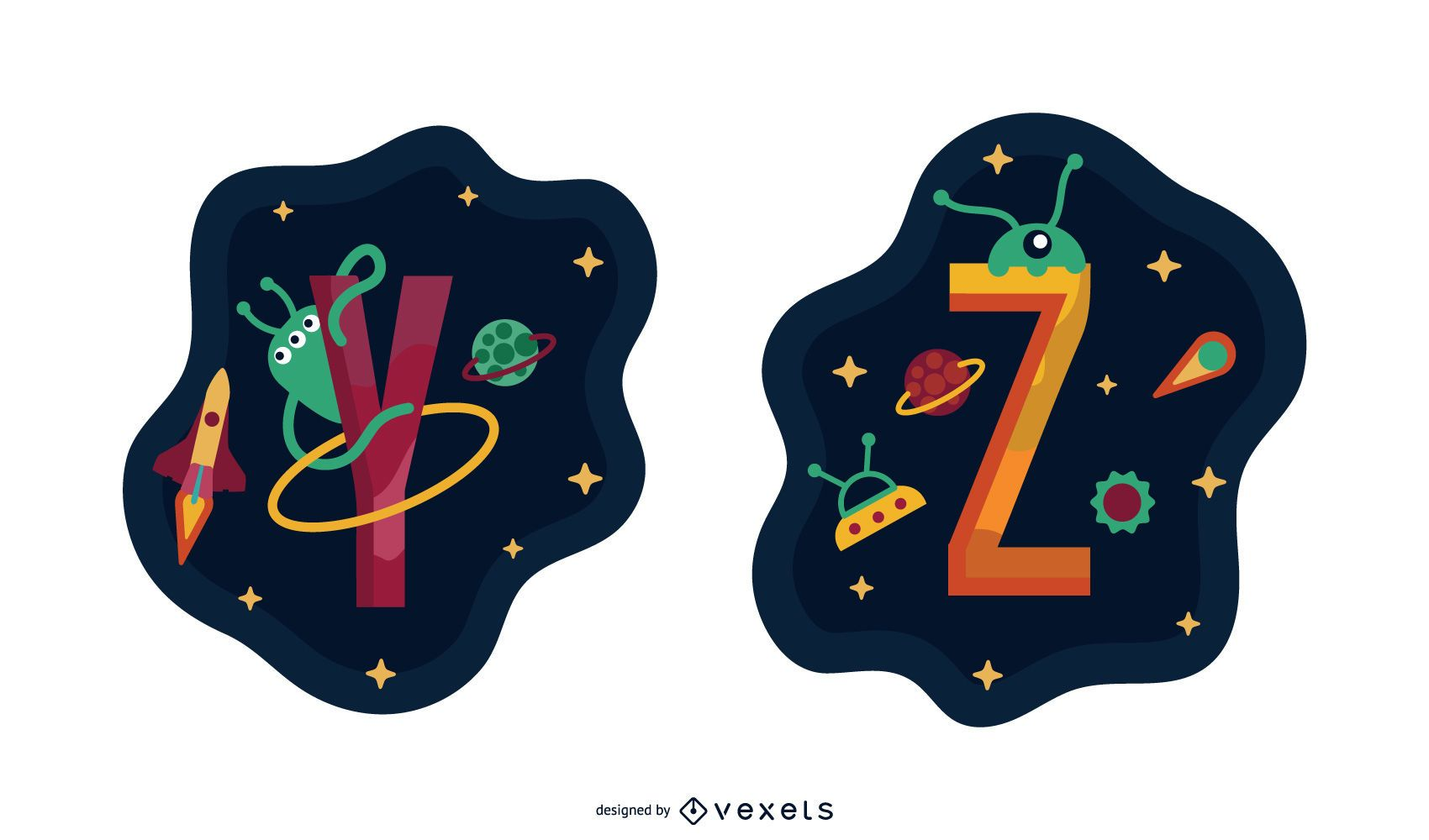 Space Garland Letter Vector Pack Y Z