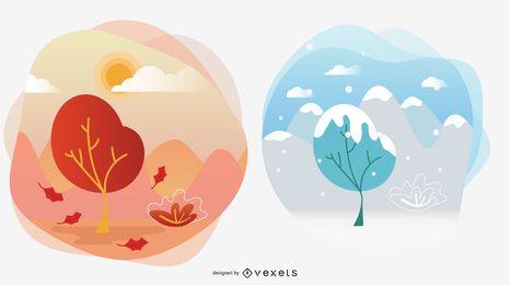 Ilustraciones de vectores de temporada de otoño e invierno