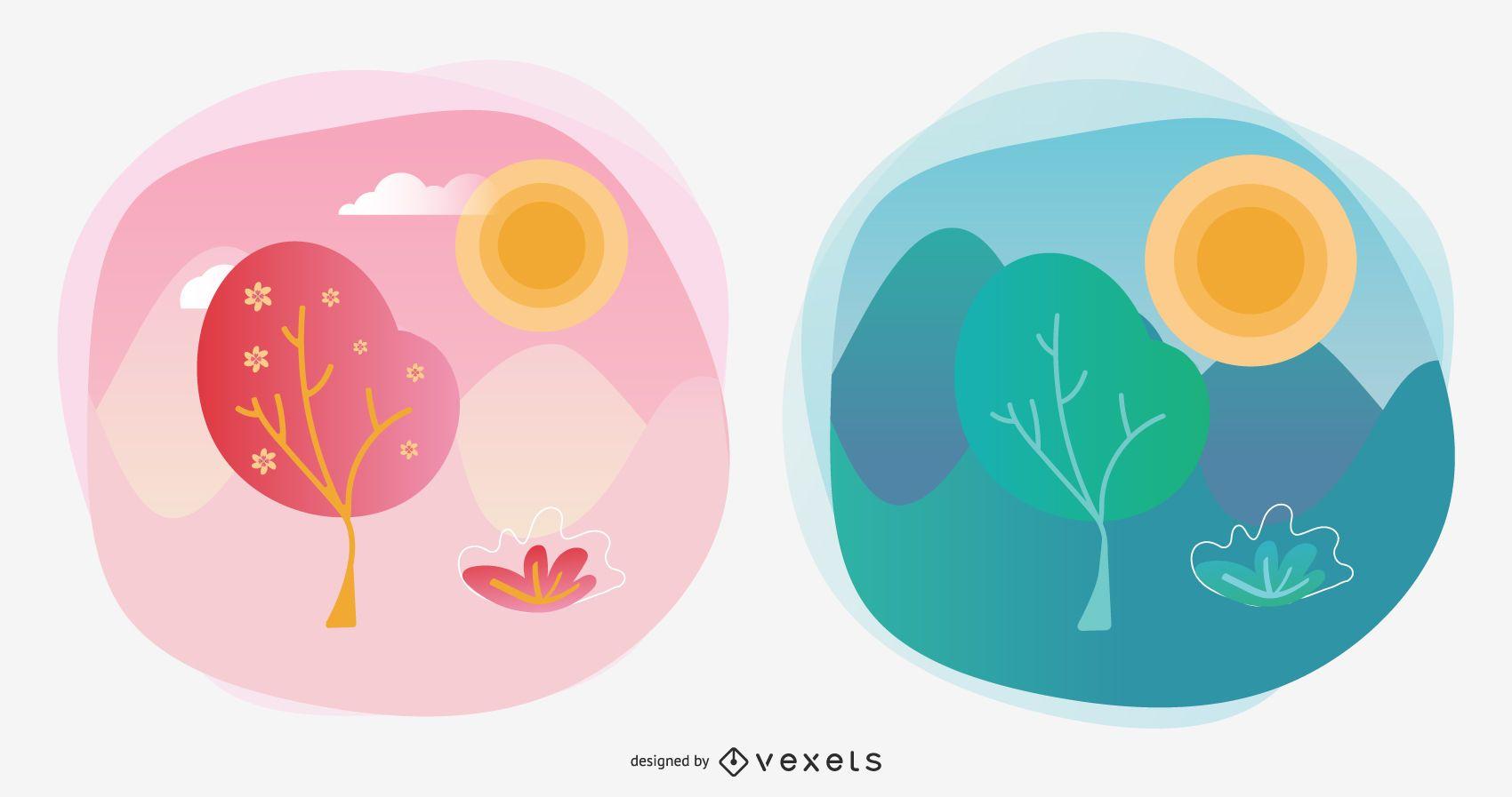 Conjunto de ilustración de vector de temporada de primavera y verano