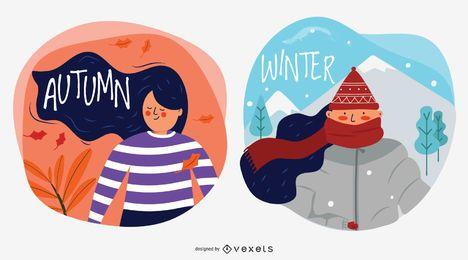Ilustrações de vetor de personagem outono e inverno