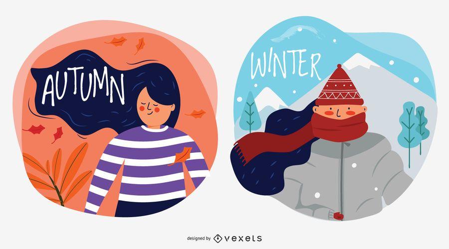 Ilustraciones de vectores de caracteres de otoño e invierno