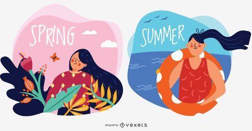 Ilustraciones de vectores de caracteres de primavera y verano