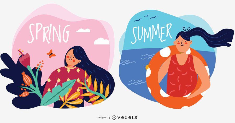 Ilustraciones vectoriales de personajes de primavera y verano