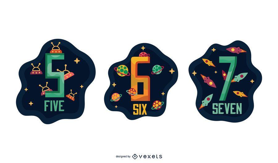 Pacote de números da carta Garland espacial 5 6 7