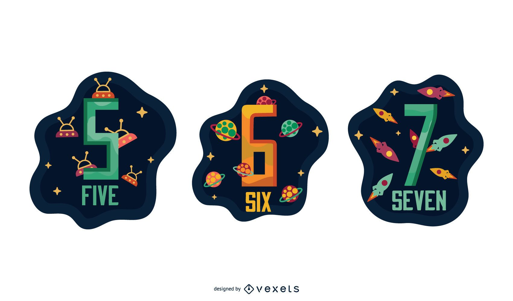 Space Garland Letter Number Pack 5 6 7