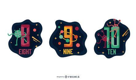 Pacote de números de carta Garland espacial 8 9 10