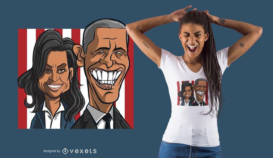 Diseño de camiseta de pareja de Obama