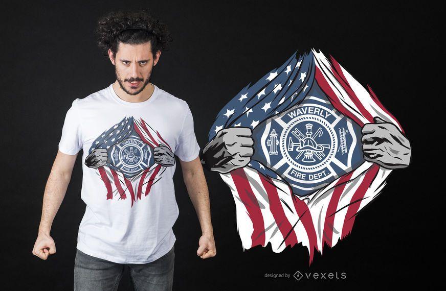 Projeto super do t-shirt do bombeiro