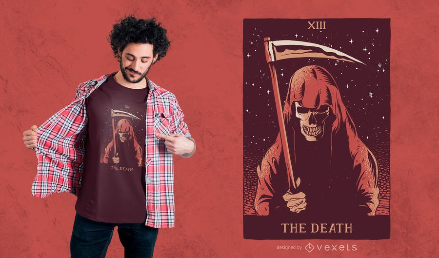 O design do t-shirt do Tarot da morte