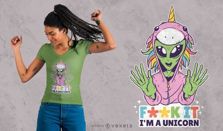 Alien Unicorn T-shirt Design