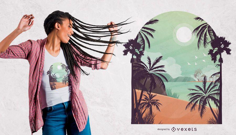 Diseño de camiseta de playa exótica