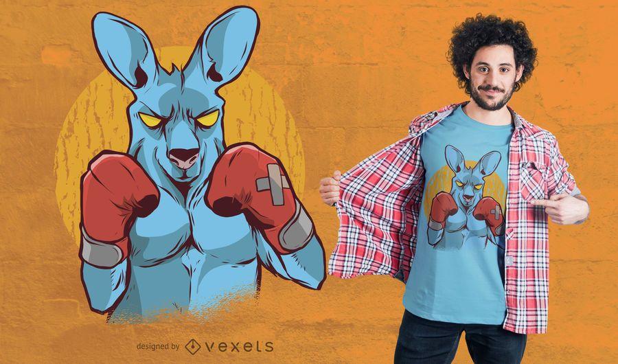 Projeto do t-shirt do pugilista do canguru