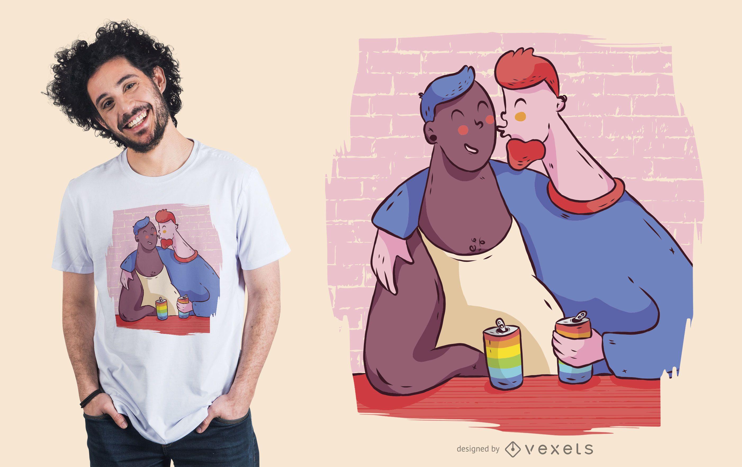 Diseño de camiseta de pareja de hombres