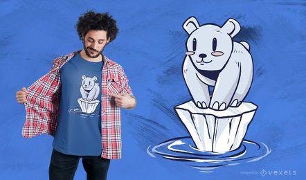 Diseño de camiseta de dibujos animados oso polar