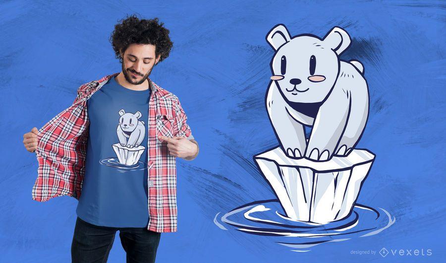 Projeto do t-shirt dos desenhos animados do urso polar