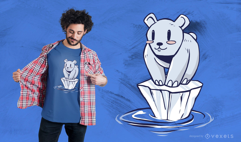 Diseño de camiseta de dibujos animados de oso polar