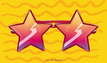 Ilustração de óculos em forma de estrela