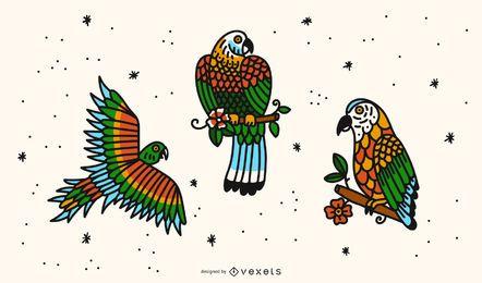 Conjunto de Design de tatuagem de papagaio da velha escola
