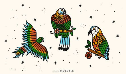 Conjunto de diseño de tatuaje de loro Old School