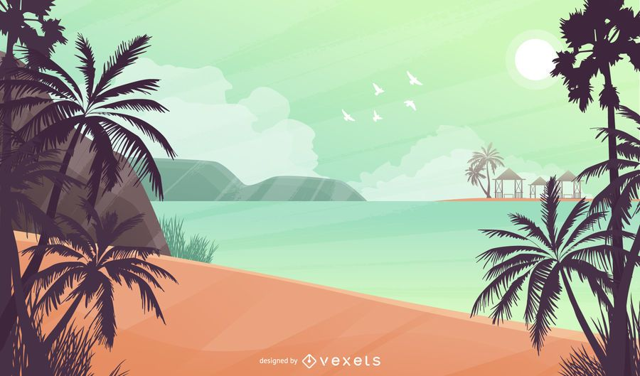 Tropical Beach Landscape Background