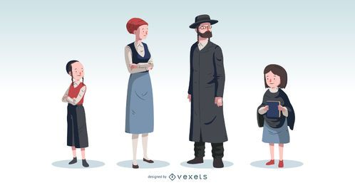 Orthodox Jewish Family Vector Set