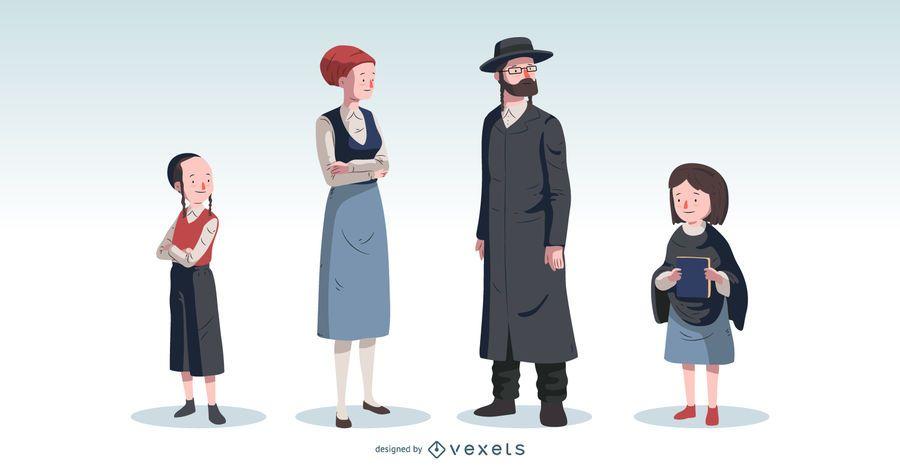 Orthodox Jewish Family Vector Set
