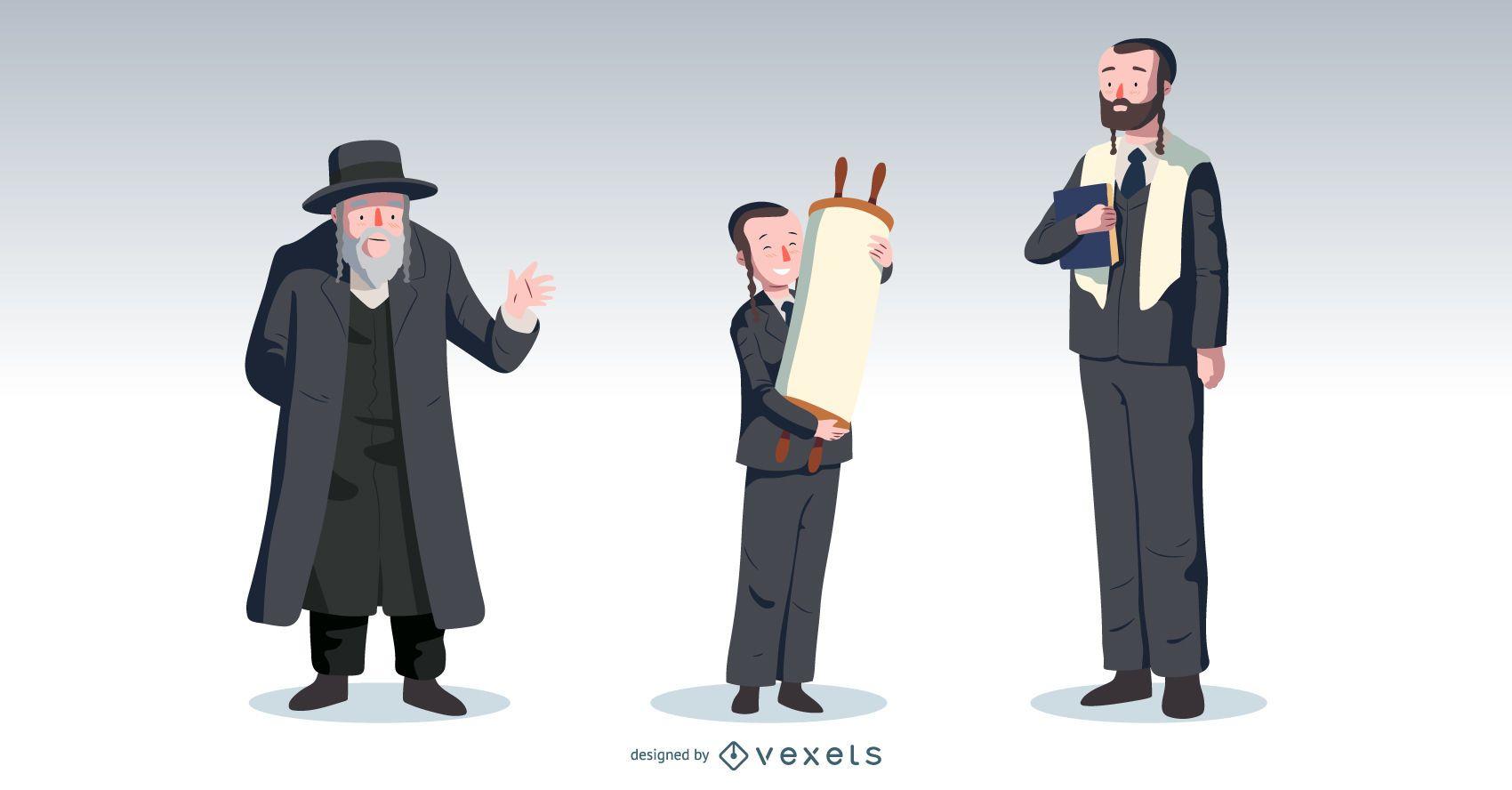 Pacote de vetores de pessoas do Bar Mitzvah