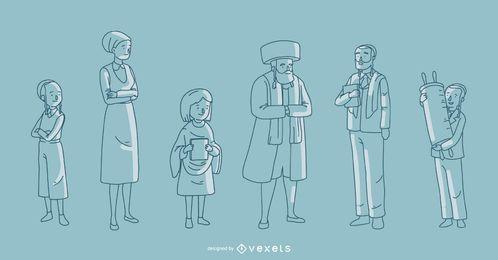 Colección de vectores de familia judía