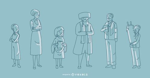 Jewish Family Vector Collection