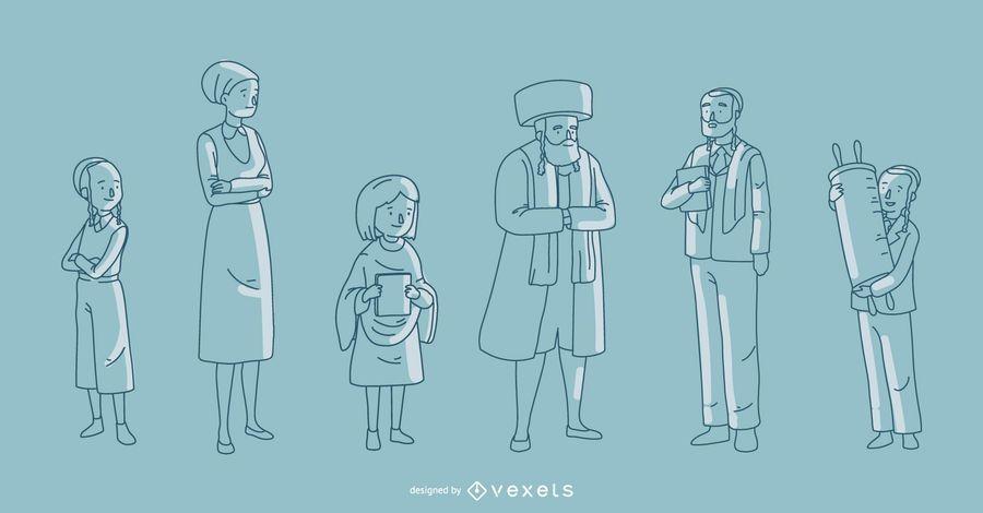 Jüdische Familien-Vektor-Sammlung