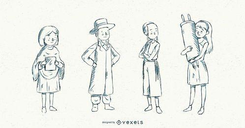 Paquete de ilustración de trazo de niños judíos